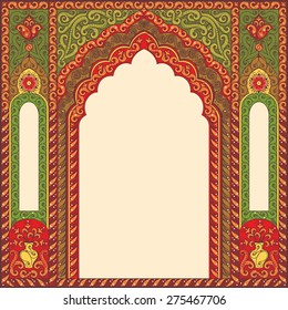Indian ornamented arch. Color red and green.