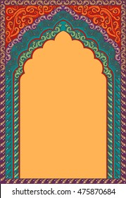 Indian ornamented arch. Color red, orange, green.