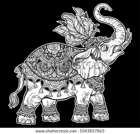 indian ornate ethnic circus boho elephant stock vector royalty free