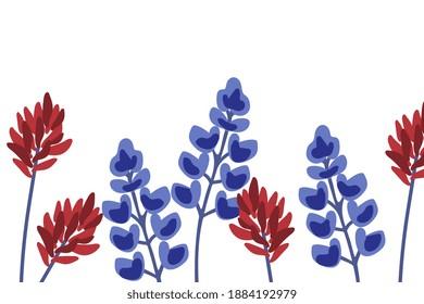 Indian paintbrush and bluebonnet background