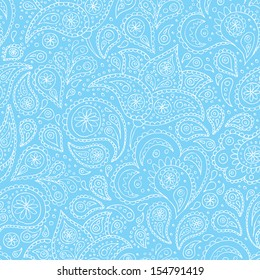 Indian paisley flowers hand drawn pattern. Vector illustration.