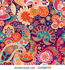 Indian paisley pattern. Colorful vector indonesian batik. Orange paisley wallpaper with stylized flowers. Design for fabric, textile, curtains, cover, wrapping paper, gift paper