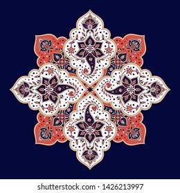 Indian paisley pattern vector. Mandala floral medallion print. Arabesque motif design. Ethnic moroccan ornament.