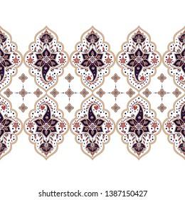 Indian paisley pattern vector seamless border. Persian floral medallion motif. Vintage flower ethnic arabesque ornament print. Islamic design decoration.
