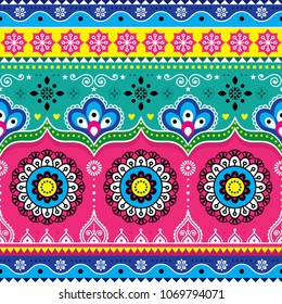 Indian and Pakistani truck art design, Jingle trucks seamless vector pattern, colorful floral repetitive decoration.   Colorful repetitive Diwali background inspired by traditional lorry art