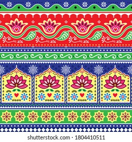 Indian or Pakistani truck art floral seamless vector pattern, Jingle trucks vibrant repetitive design,  vivid ornament with lotus flowers and abstract shapes. Diwali happy background