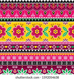 Indian or Pakistani truck art inspired seamless folk art pattern, Indian Jingle trucks vector design, traditional ornament with flowers, leaves and abstract shapes.