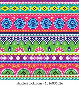 Indian or Pakistani truck art vector seamless pattern, colorful design with geometric shapes and flowers. Floral repetitive textile or wallpaper background, popular lorry and rickshaw decoration