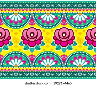 Indian and Pakistani truck art vector seamless long horizontal pattern design with roses, floral Diwali vibrant pattern in pink and green Colorful wallpaper inspired by traditional art.