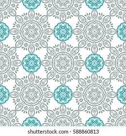 Indian pattern. Arabic, islamic, japanese motifs. Mandala seamless pattern. Ethnic bohemian background. Wrapping and scrapbook paper. Print for fabric. Vector illustration
