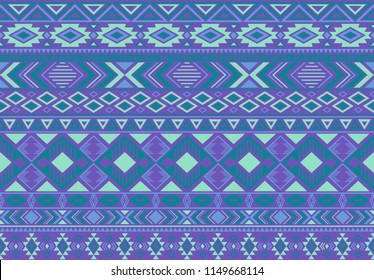 Indian pattern tribal ethnic motifs geometric seamless vector background. Fashionable indian tribal motifs clothing fabric textile print traditional design with triangle and rhombus shapes.