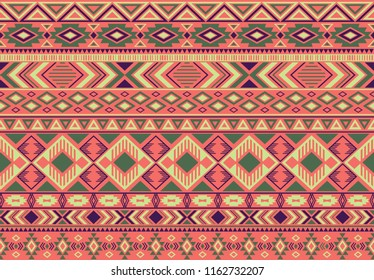 Indian pattern tribal ethnic motifs geometric seamless vector background. Trendy indian tribal motifs clothing fabric textile print traditional design with triangle and rhombus shapes.