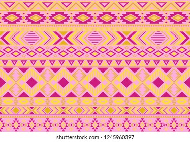 Indian pattern tribal ethnic motifs geometric seamless vector background. Graphic ikat tribal motifs clothing fabric textile print traditional design with triangle and rhombus shapes.