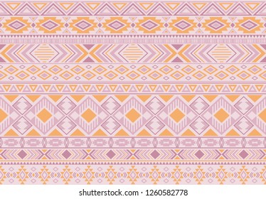 Indian pattern tribal ethnic motifs geometric seamless vector background. Awesome boho tribal motifs clothing fabric textile print traditional design with triangle and rhombus shapes.