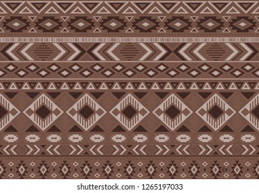 Indian pattern tribal ethnic motifs geometric seamless vector background. Rich boho tribal motifs clothing fabric textile print traditional design with triangle and rhombus shapes.
