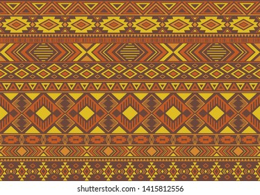 Indian pattern tribal ethnic motifs geometric seamless vector background. Chic ikat tribal motifs clothing fabric textile print traditional design with triangle and rhombus shapes.