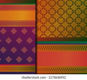 Indian Pattu Sari Vector pattern set. Traditional handmade Indian silk sari /saree with golden details, woman wear on festival, ceremony, and weddings.
