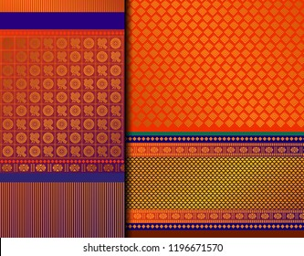 Indian Pattu Sari Vector pattern set. Traditional handmade Indian silk sari /saree with golden details, woman wear on festival, ceremony, and weddings. Gold thread sari also known as Kanjeevaram.