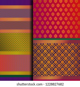 Indian Pattu Sari Vector pattern set. Traditional handmade Indian silk sari /saree with golden details, woman wear on festival, ceremony, and weddings. Gold thread sari also known as Kanjeevaram.