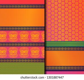 Indian Pattu Sari Vector pattern set. Traditional handmade Indian silk sari /saree with golden details, woman wear on festival, ceremony, and weddings