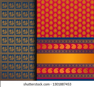 Indian Pattu Sari Vector pattern set. Traditional handmade Indian silk sari /saree with golden details, woman wear on festival, ceremony, and weddings