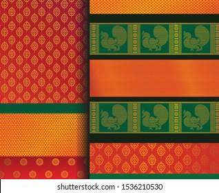Indian Pattu Sari Vector pattern set. Traditional handmade Indian silk sari /saree with golden details, woman wear on festivals and weddings