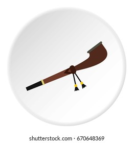 Indian peace pipe icon in flat circle isolated vector illustration for web