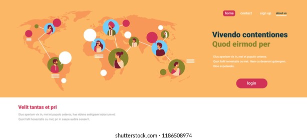 indian people avatar world map chat bubbles global communication teamwork connection concept hindu man woman faces portrait flat copy space horizontal banner vector illustration