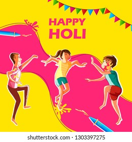 Indian People celebrating festival of Color Holi in vector bacground
