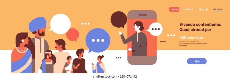 indian people chat bubbles mobile application communication speech dialogue indian man woman cartoon character portrait copy space horizontal flat vector illustration