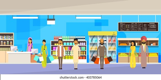 Indian People Group With Bags Big Shop Super Market Shopping Mall Interior India Customers Stand In Line Flat Vector Illustration