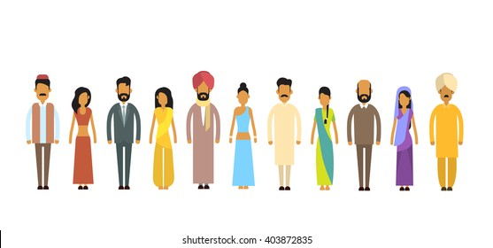 Indian People Group Traditional Clothes Flat Vector Illustration