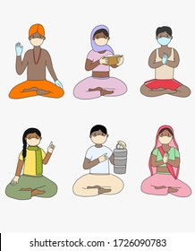 Indian people sitting wearing protective mask for the pandemic of coronavirus. People with hands in sign of namaste wearing medical gloves. Man food safety in India. Religious man wearing mask.