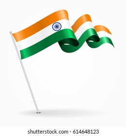 Indian pin icon wavy flag. Vector illustration.