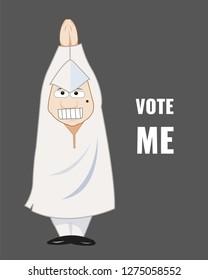 indian politician character in uniform demanding vote