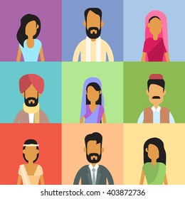 Indian Profile Avatar Set Business People Portrait Icon Collection Face Flat Vector Illustration