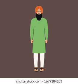 Indian Punjabi Man (Sardar Ji) in Kurta and Payjama with turban - Front Side Pose