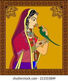 Indian Queen / princess portrait -inspired by 16th century India Rajput style of art.