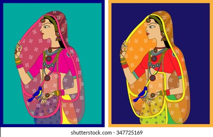 Indian Queen/ princess portrait -inspired by 16th century India Rajput and Mughal style of art