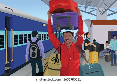 Indian Railway Porter - Illustration