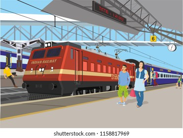 indian railway station illustration