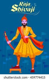 Indian Raja Shivaji with sword. Vector illustration