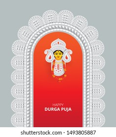 Indian Religion Durga Puja Festival Background Template Design with Goddess Durga Face Illustration