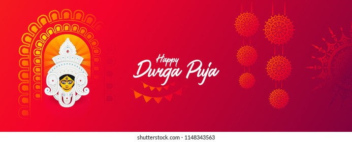 Indian Religion Festival Durga Puja  Banner, Header Design with Goddess Durga Face Illustration