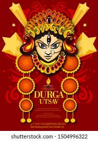 Indian Religion Festival Durga Puja Banner, Header Design with Goddess Durga Face Illustration Happy Dussehra Navratri background