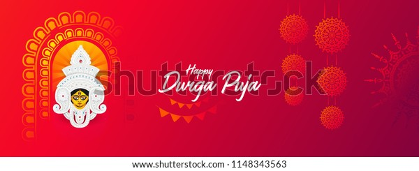 Indian Religion Festival Durga Puja  Banner, Header Design with Goddess Durga Face Illustration