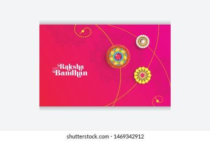 Indian Religion Festival Raksha Bandhan Greeting Card Layout Template Design with Creative Rakhi Illustration
