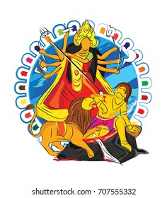 Durga Drawing Images Stock Photos Vectors Shutterstock