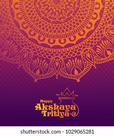Indian Religious Festival Akshaya Tritiya Festival Template Design with Floral Ornaments