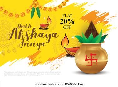 Indian Religious Festival Akshaya Tritiya Background Design with Mangal Kalash, lamps Vector Illustration